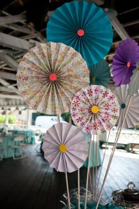 Paper Pinwheel Wedding Decor 275x412 Glen Echo Park Wedding Reception: Abbey + Nick