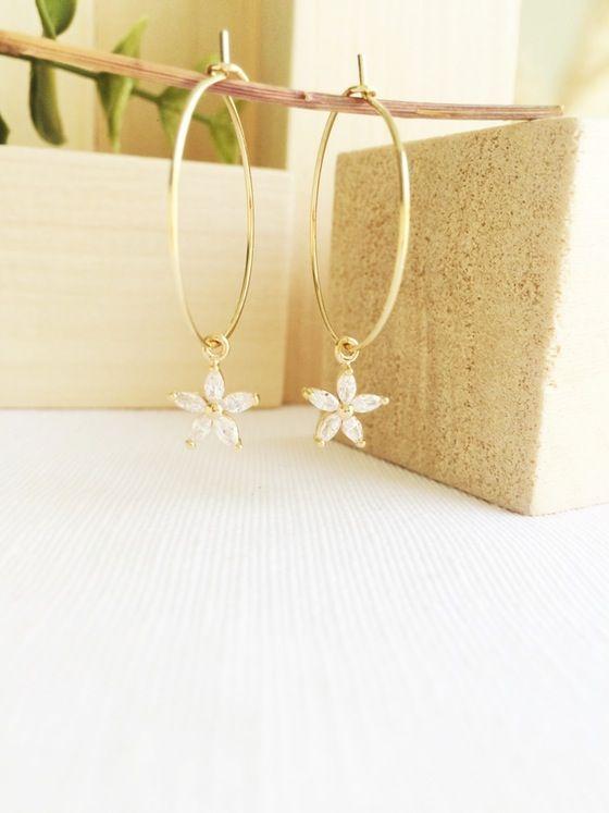 Inverness Earrings #earrings #edelweiss #zirconia #flower #goldfilled