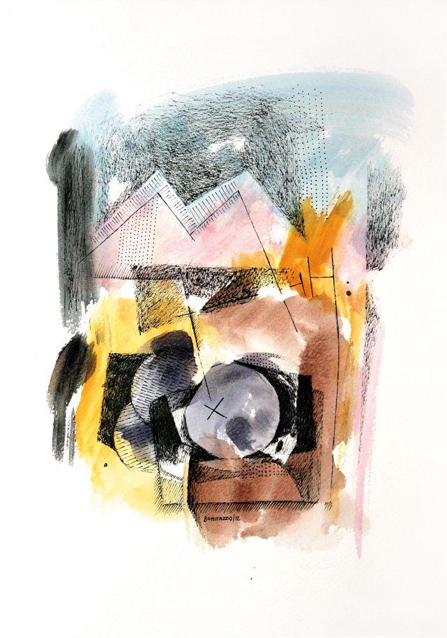 """""""Oda al gran vino"""". Acuarela y fibra sobre papel. 30 x 20 cm. 2012."""