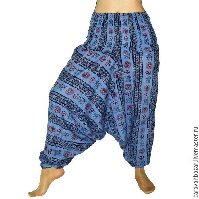 Купить Штаны алладины из легкого хлопка - васильковый, абстрактный, алладины, шаровары, али-баба, для йоги