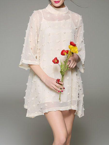 Sweet Crew Neck 3/4 Sleeve Polyester Mini Dress