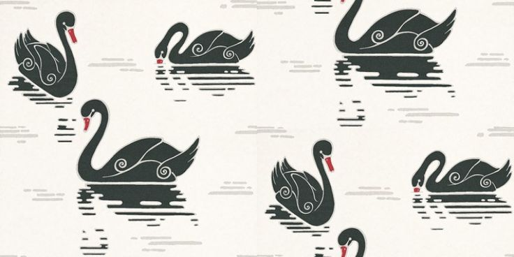 By+Lindholm+(12-20180)+-+By+Lindholm+Wallpapers+-+A+unique+bold+design+of+stylised+swans+in+a+retro+look.+Showing+in+contrasting+black+on+white+with+red+highlights+-+more+colours+are+available.+Please+request+a+sample+for+true+colour+match.+Paste-the-wall+product.