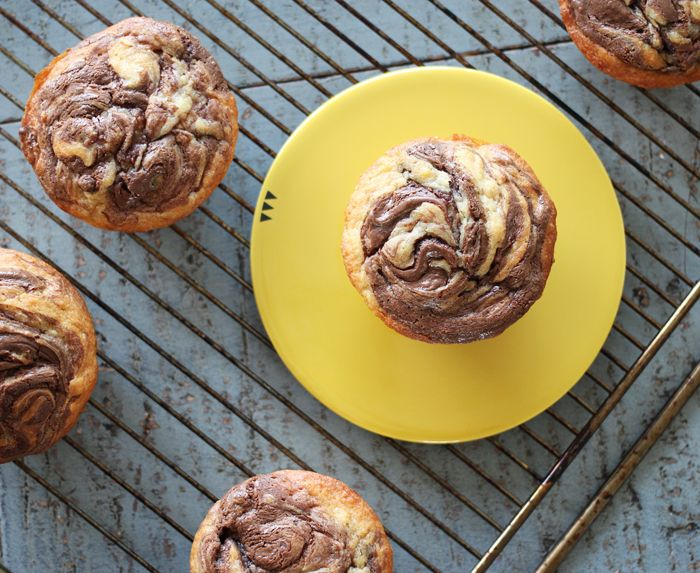 Bananmuffins med Nutella-swirl