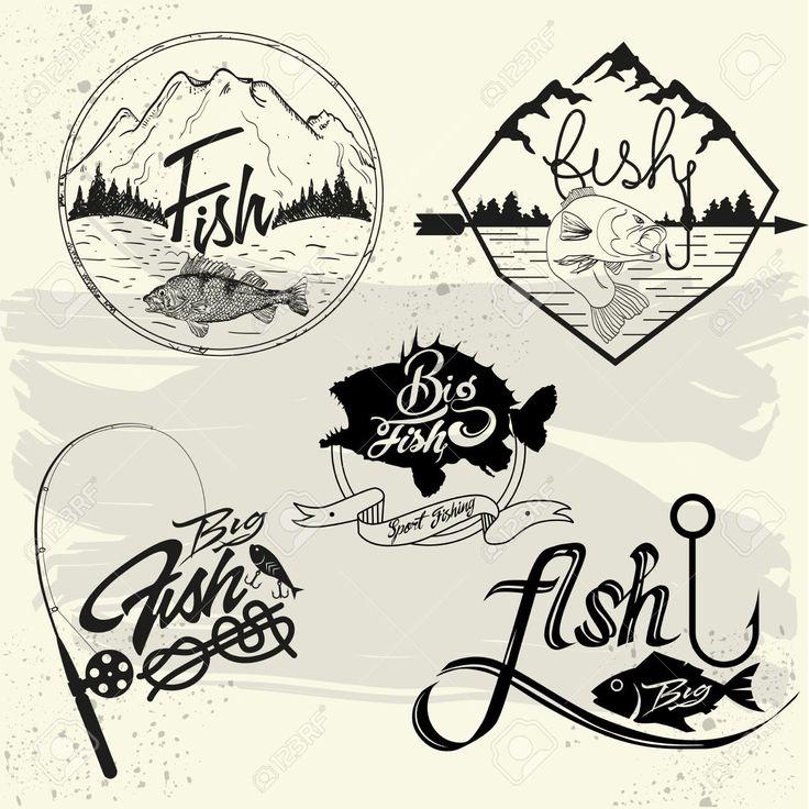 Vector set d'étiquettes de club de pêche, des éléments de conception, les emblèmes et insignes. Isolé logo illustration dans le style vintage.