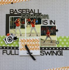 scrapbook layout baseball catcher title | Scrapbook Layouts {Sports-Baseball & Softball} on Pinterest | Softball ...