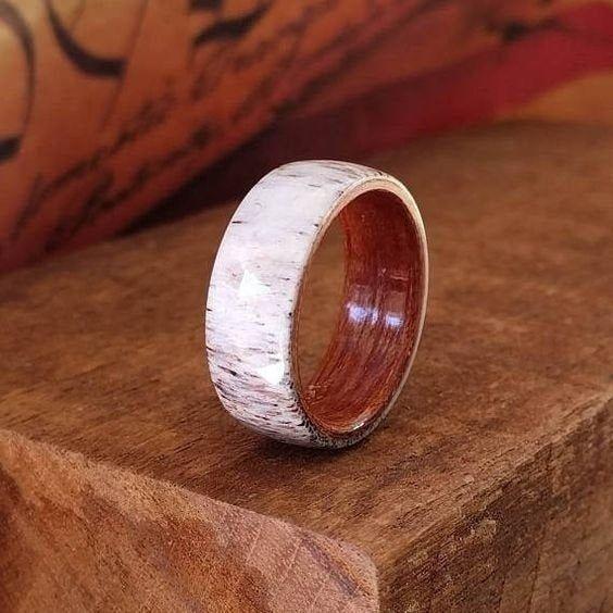 Deer Antler And Rose Wood Men Wedding Ring Engagement Father Best