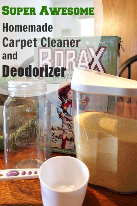 It sounds crazy, but it works! A quick and easy DIY carpet cleaner and deodorizer. 2 cups corn meal, 1 cup borax. Mix. Sprinkle. Wait. Vacuum.