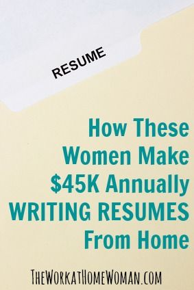 See how two successful Resume Writers are making over $45K a year from home just by writing resumes! via The Work at Home Woman