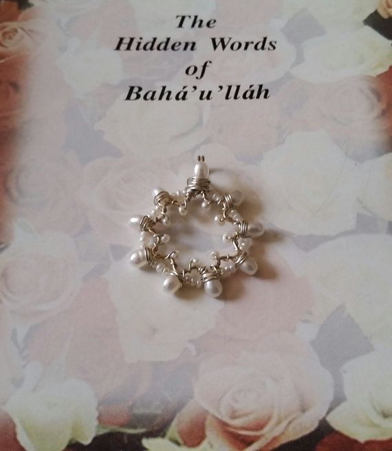 Bahai Jewelry Nine Pointed Star Ornate Freshwater Pearl Sterling Silver Wirewrapped Pendant Handmade Baha'i Symbol Gemstone Necklace