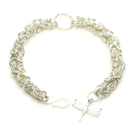 Sterling Silver Byzantine Bracelet with Hammered by FionaKDesigns #handmade