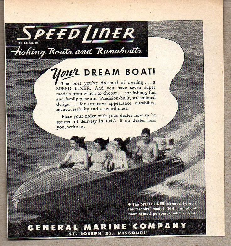 1947 Print Ad Speed Liner Boats General Marine Co St ...