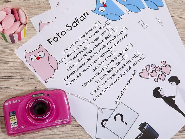 Gelangweilte Kinder auf Ihrer Hochzeit? Nicht mit dieser Druckvorlage für eine spannende Fotosafari!