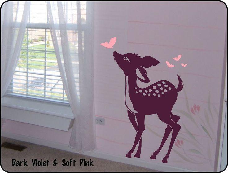 Baby Deer Vinyl Wall Decal Sticker for Nursery / Baby Girl or Boy Childrens Room Decor Fawn. $29.50, via Etsy.