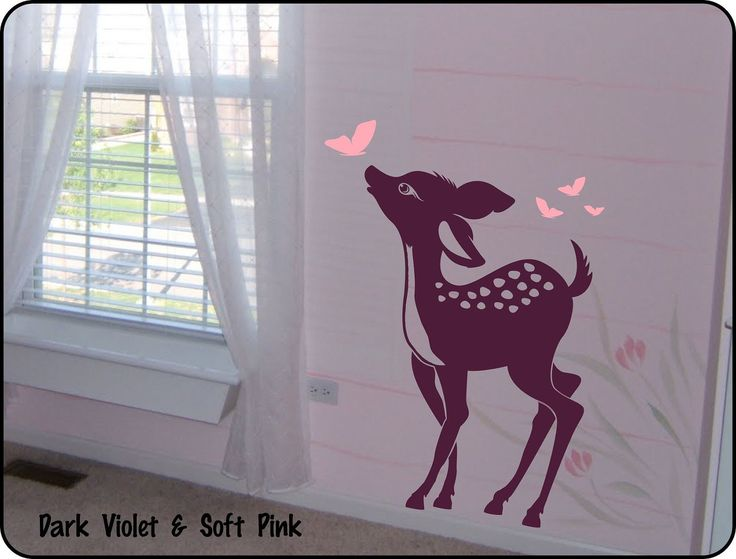 Baby Deer Vinyl Wall Decal Sticker for Nursery / Baby Girl or Boy Childrens Room Decor Fawn. $29.50, via Etsy.