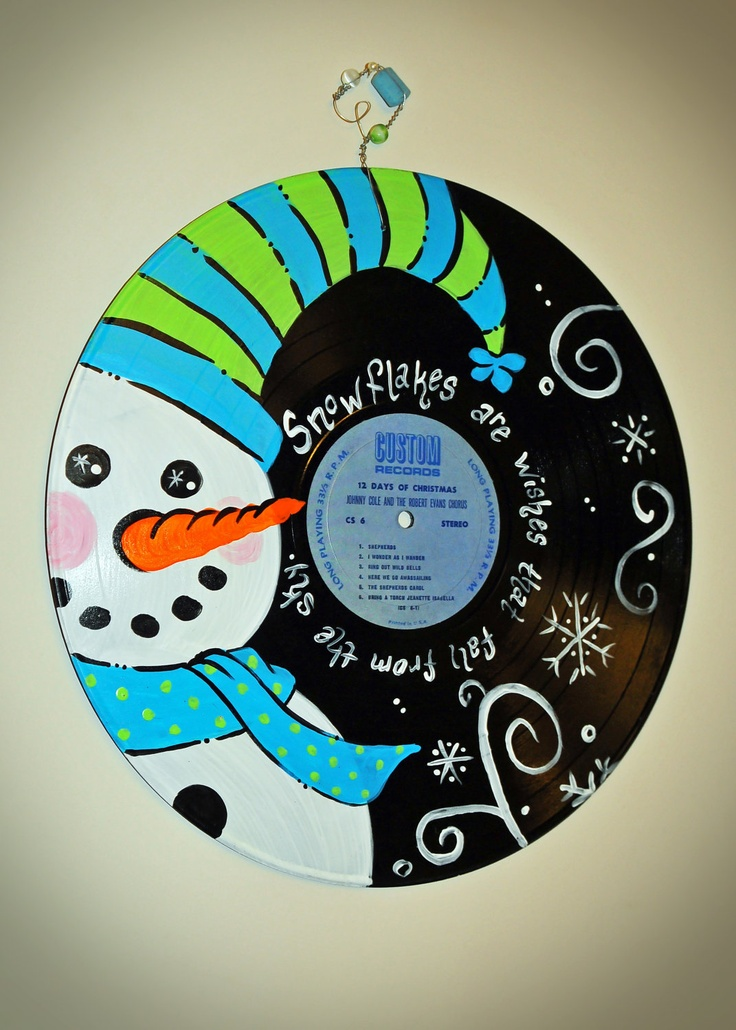 Hand Painted Vintage Christmas Record Album - Snowman Design.