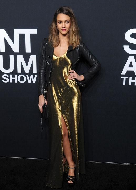 Jessica Alba made us love metallic gold like never before. Copy her shine and add a basic like a leather jacket to make the look feel ready for dinner and drinks, not a Broadway show.