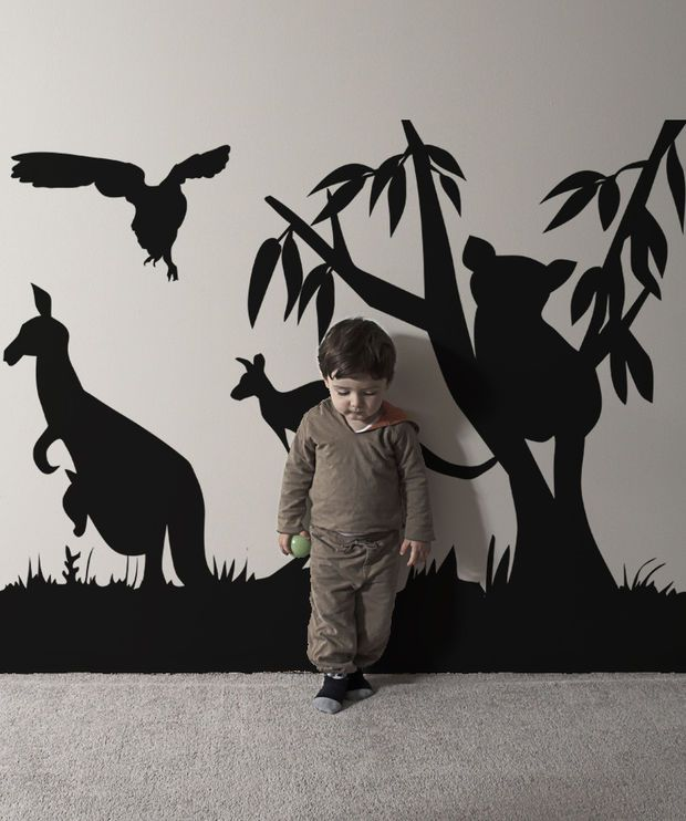 Library decoration: If can't afford stickers, draw silhouette shapes in paper to stick to the walls. Vinyl Wall Decal Sticker Australian Animals #OS_AA467