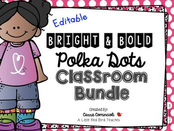 This bundle includes 5 Bright and Bold Polka Dot themed units that are a must for any classroom.  This BUNDLED pack includes OVER 400 PAGES!!  In this bundle you will find - Bright and Bold Polka Dot Theme Classroom Decor {Editable}Bright and Bold Polka Dot Lunch and Attendance Check In System {Editable}Superhero Manners and Expectations Posters {Editable}Bright and Bold Polka Dot Dolch Word Wall Packet {Editable}Editable Alphabet Bunting with Bright and Bold Polka Dots {Includes…