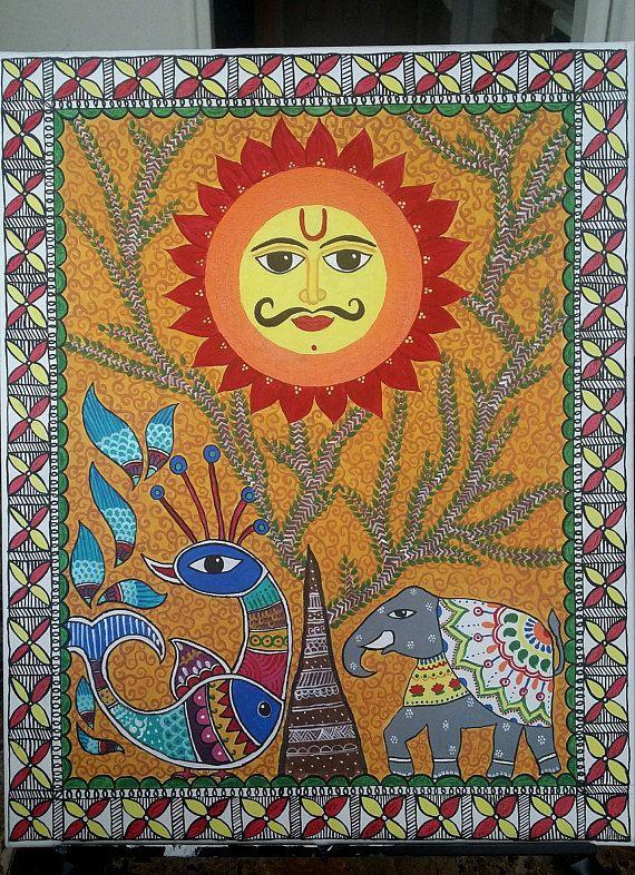 Madhubani Painting:Importance of the SunFree Shipping