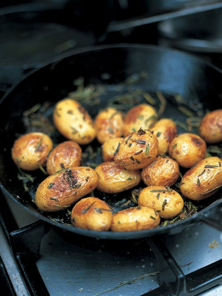 Jamie Oliver... Baked new potatoes with sea salt and rosemary. These roast new potatoes are beautifully crispy on the outside, and soft and fluffy on the inside.