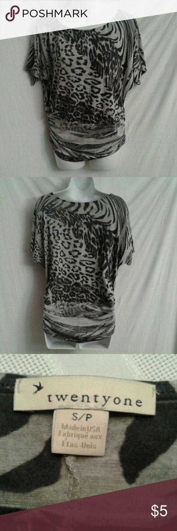 Twentyone black animal print top sz S This is a batwing sleeve, shirred side, black and grey animal print, top in EUC. It is 96/4 poly/spandex blend that is hand wash, line dry. It is a sz S/P. Twentyone Tops Tunics
