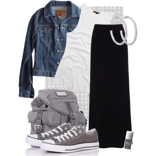 Outfit idea with basics: black maxi skirt with converse sneakers: