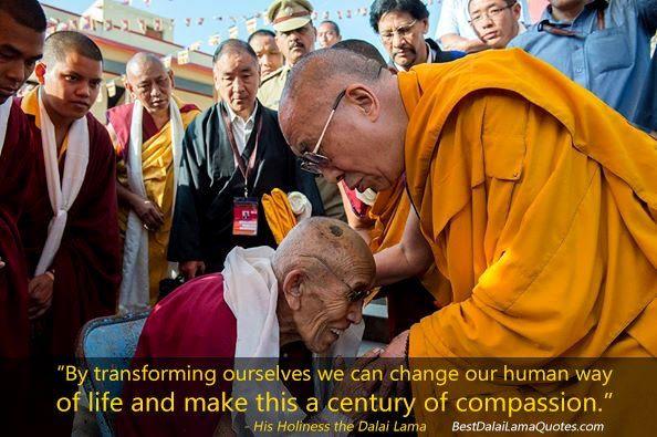 Dalai Lama comforting a elderly Monk in a Monastery in Mundgod