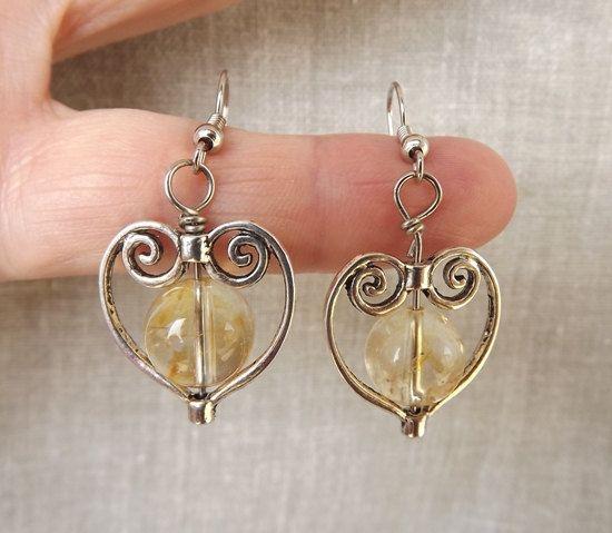 Citrine earrings mothersdaygift giftforher by Mammybluebeads