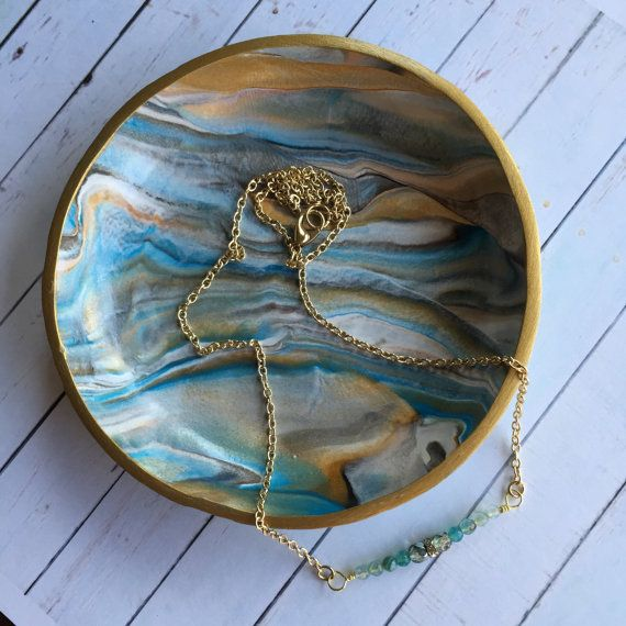Ring Dish - Marbled Blue and Gold Polymer Clay by MonicaRudyJewelry