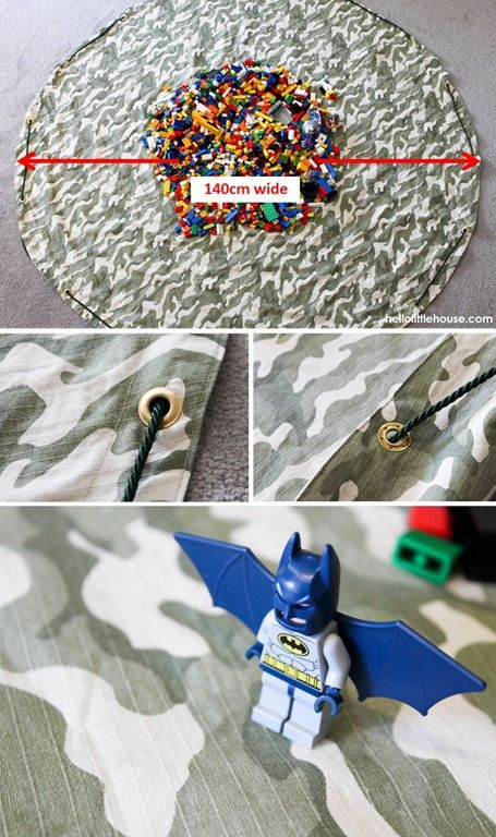Drawstring lego mat details @ Hello Little House