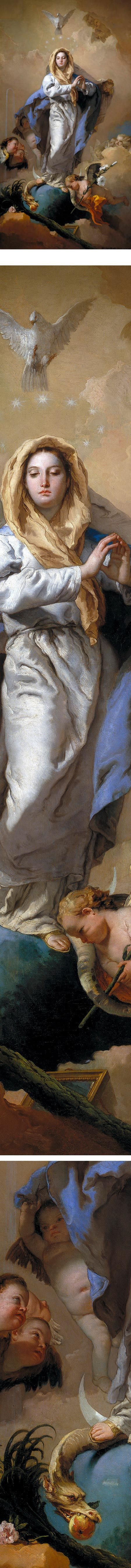 "❥ The Immaculate Conception, Giambattista Tiepolo~ ""I saw the Spirit come down like a dove"" John 1:32 ""A great sign appeared in the sky, a woman clothed with the sun, with the moon under her feet, and on her head a crown of twelve stars."" Rev 12:1, ""Like a lily among thorns, so is my friend among women."" Songs 2:2, ""Behold, I have given you the power 'to tread upon serpents' and scorpions and upon the full force of the enemy and nothing will harm you."" Luke 10:19"