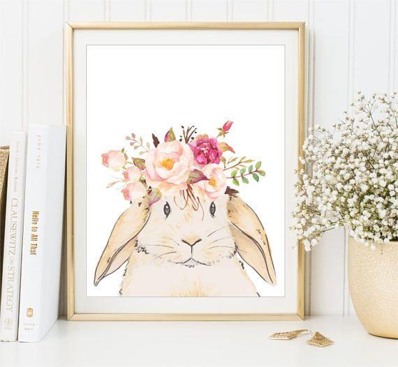 Bunny Print Peach Pink Watercolor Flowers nursery art Baby