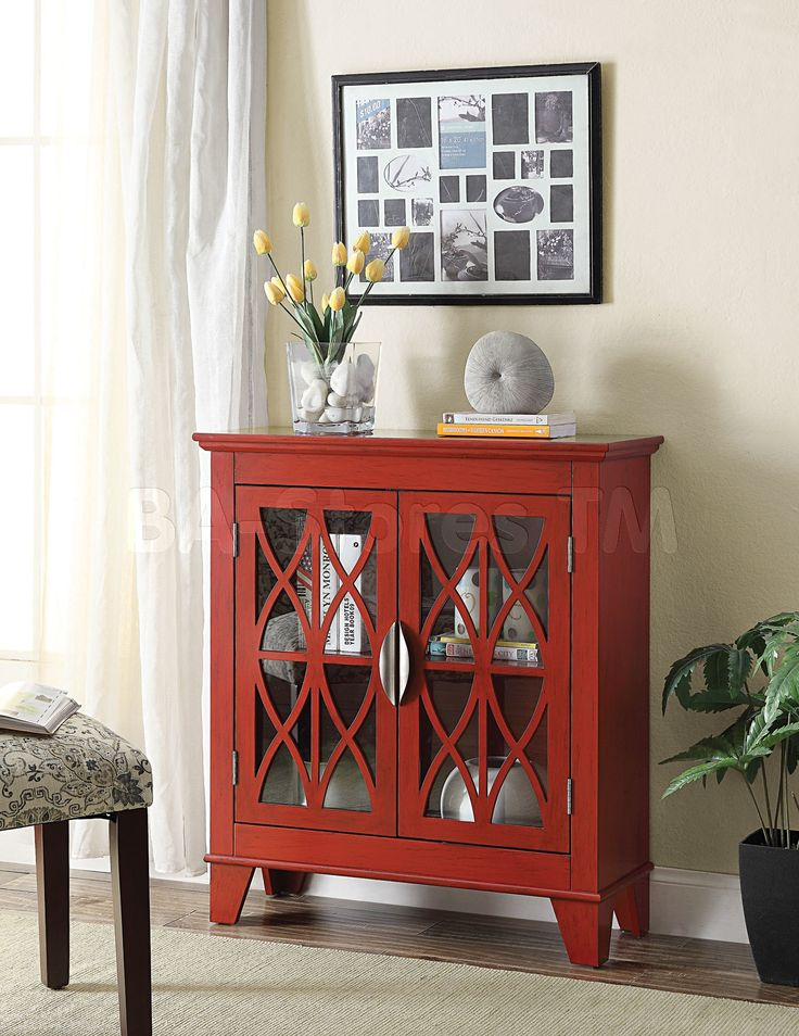 Transitional Accent Cabinet | Red