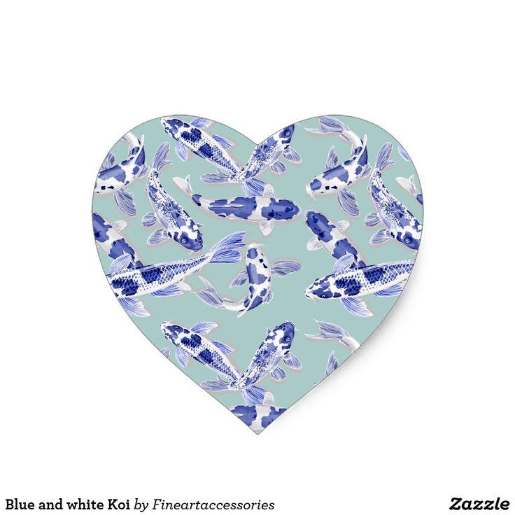 Blue and white koi heart sticker