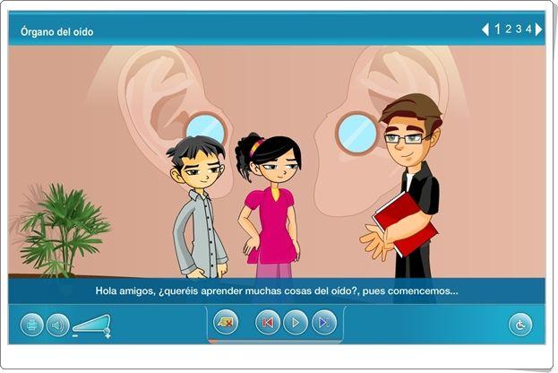 """""""Órgano del oído"""" (Aplicación interactiva de Ciencias Naturales de Primaria)"""