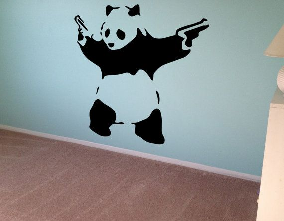 10% OFF Banksy Wall Decal Panda Guns Wall Art Wall Sticker Vinyl Poster Graffiti Street Art