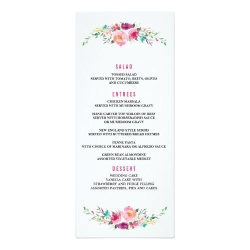 Bohemian Fl Wedding Dinner Menu Card Created By Blush Printables