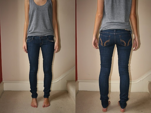 Skinny jeans. Hollister Co.  Wow... Perhaps I need to invest in some Hollister jeans O.o lol #nicebutt ;P