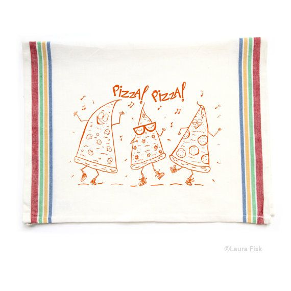 These Pizza Dudes cant contain themselves, theyve gotta dance to the beat!  They are hand-screenprinted in water based non-toxic fabric ink on on a super fun rainbow striped dish towel sized 20 x 28. Theyre one of my many illustrated funny food characters.  100% cotton, completely machine wash, machine dry.  To see the full line of single dish towels, click here: http://www.etsy.com/shop/fiskandfern?section_id=5123432