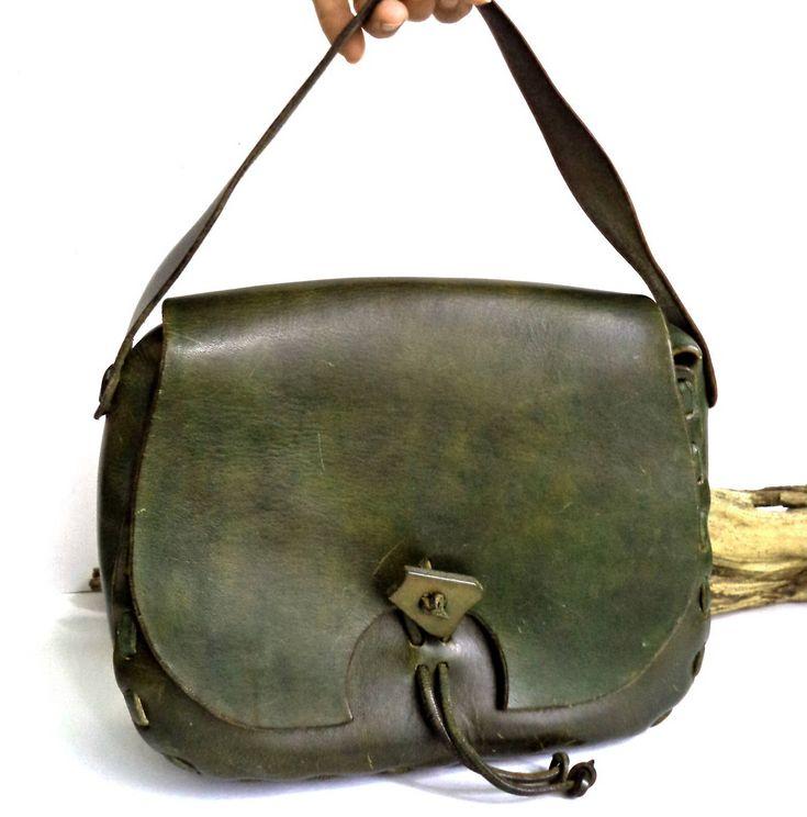 1960s Tooled Leather Hanbag Bag Green Boho Hippie WEstern Purse Retro Mod Messenger Bag Saddle Hobo Stiff Cowhide Tooled Ring Clasp Gift by MushkaVintage3 on Etsy
