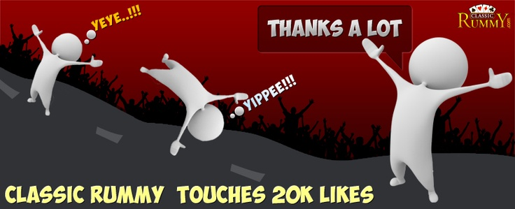 Hurray!!! We are proud to announce that classic rummy have reached 20000 likes. We would like to thank you all. We could not have done it without you! Thanks a lot for all the support and encouragement. Let us make it 30000 now!!! :)  https://www.classicrummy.com/play-rummy?link_name=CR-12
