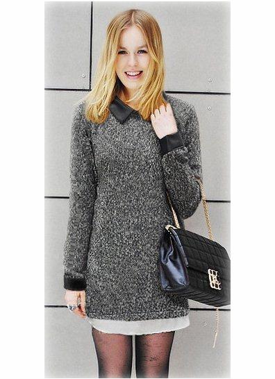 Leather genser Denne genseren har kastet seg på vårens hete trend; skinndetaljer! Genseren er i kashmereblanding, og har skinndetaljer på krage og ermer. Glidelås i øverste del av ryggen.  Farge: Sort eller brun