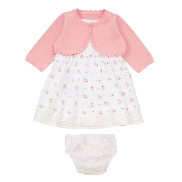 Mothercare Floral Dress Cardigan Knicker Set Baby