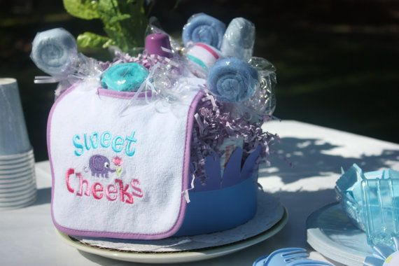 Sweet Cheeks Diaper Cake With Lollipop by ImagineThatBaby on Etsy  #integritytt #babyshower #diapercake