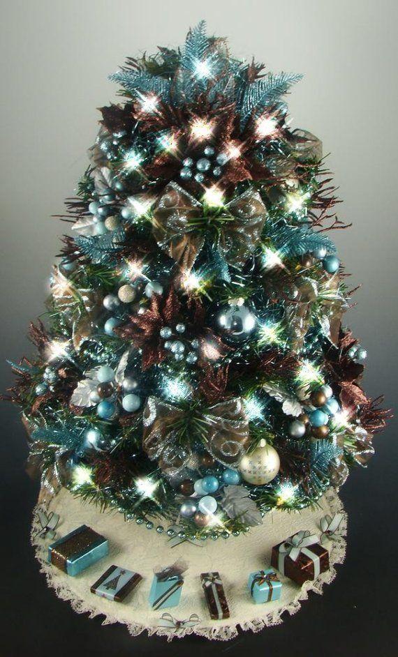 Tabletop Christmas Tree Brown Aqua Turquoise 21