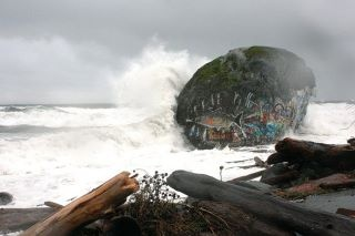 Awesome shot of Big Rock in #campbellriver during an epic storm.