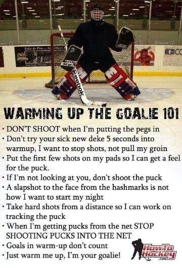 Hockey Goalie warmup