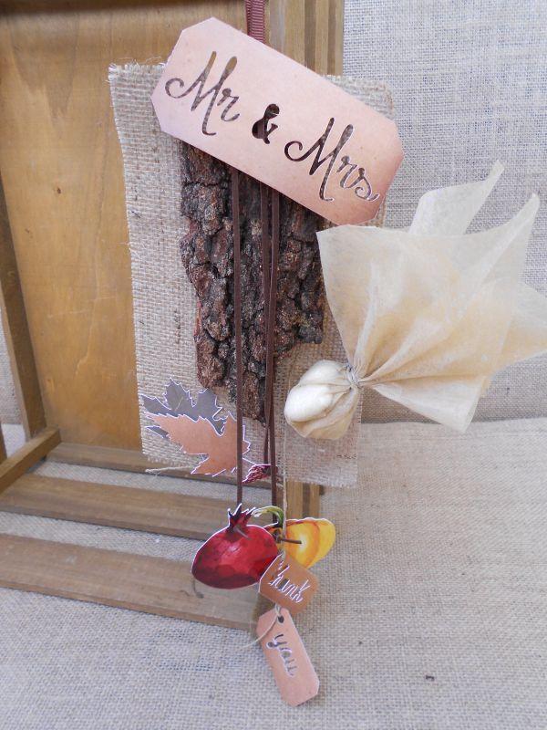 Μπομπονιέρα γάμου φθινοπωρινή με φλοιό, ρόδι & κολοκύθα