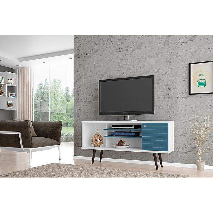 Manhattan Comfort Liberty 53 14 Inch Tv Stand Bed Bath And Beyond Canada In 2020 Mid Century Modern Tv Stand Modern Tv Stand White Modern Tv Stand