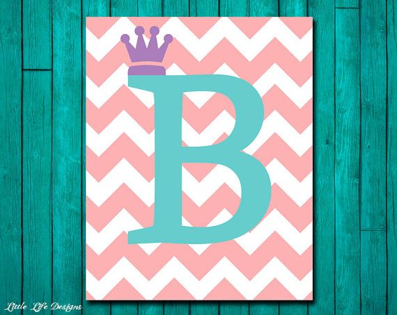 Classic art for your home. Chevron initial with your choice of a cross, crown, or fleur de lis to accessorize your initial or choose to leave
